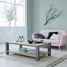 Table basse en pin recyclé et métal - 140 x 80 cm - Double plateau - VINTAGE GARDENANDCO