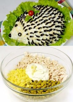 How to make salad a hedgehog - the recipe, ingredients and photos Fruit Decorations, Food Decoration, Pineapple Tree Centerpieces, Food Art For Kids, Fish Salad, Fruit Salad, Sandwich Cake, Bun Recipe, Luau Party