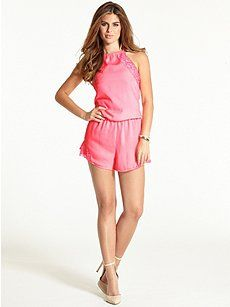 12/21 Guess The Flirty Romper with Lace ($20.00) 78% Off #dresses
