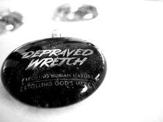 Depraved Wretch Pendant, Necklace, Christian gift, Glass Cabochon, Scripture, glass Gem