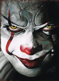 Pennywise art,so cool Le Clown, Creepy Clown, Scary Clown Drawing, Clown Horror, Arte Horror, Halloween Prints, Halloween Art, Halloween Halloween, Horror Movie Characters