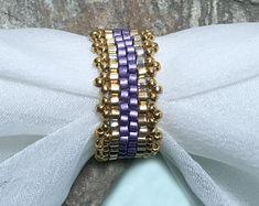 Lilac Beaded Band Peyote Ring