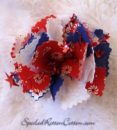 http://www.facebook.com/pages/Spoiled-Rotten-Cotton-Boutique/132728380133473  Patriotic Fourth of July Fabric Rag Bow