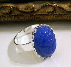 Vintage German Glass Scarab Ring with an by lucindascharms on Etsy, $16.00