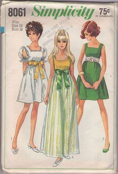 MOMSPatterns Vintage Sewing Patterns - Simplicity 8061 Vintage 60's Sewing Pattern DREAMY Mod Square Neck Sheer Sleeve Babydoll Mini Party Dress, Long Skirted Formal Maxi Gown