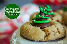 12 Days of Cookies - Day 2: Christmas Tree Peanut Butter Blossoms - The JavaCupcake Blog