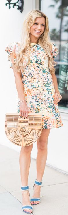 lovely spring outfits /  White Printed Dress / Wood Clutch / Blue Sandals