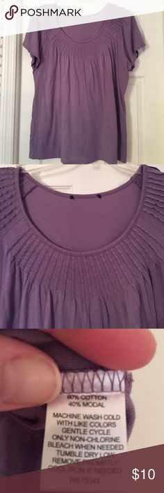 Lavender top Very comfy with pretty pleated front. Back is solid with no pleats. Tag removed for comfort  Tops Tees - Short Sleeve