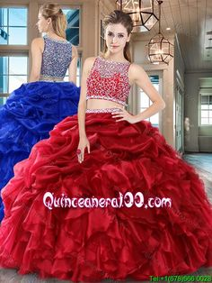 56aa8c7711e Lovely Puffy Beaded Bodice Ruffled and Bubble Quinceanera Dress in Organza