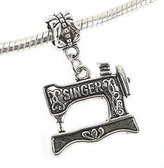 Amazon.com: Antique Silver Plated Sewing Machine Dangle Charm for Snake Chain Charm Bracelet: Jewelry