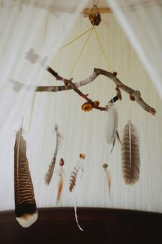 A Boho style feather mobile