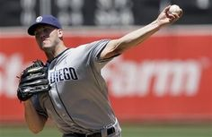 June 17, 2012 - Oakland, CA -- Clayton Richard pitched into the 8th inning for his 2nd consec win & San Diego Padres beat Oakland Athletics 2-1 on Sunday to avoid a 3-game sweep.  http://www.sacbee.com/2012/06/17/4568885/clayton-richard-pitches-padres.html?storylink=lingospot_related_articles#