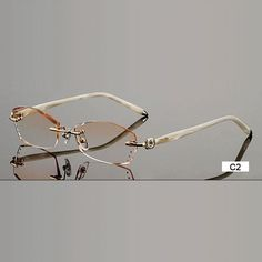 0320f3c0119c8 Fashion Eyeglasses B002 Diamond Trimming Cutting Rimless Eyeglasses