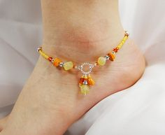 Anklet Vintage Orange Three Dangle Beaded by ABeadApartJewelry, $13.50