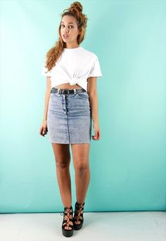 Blue Acid Wash Denim Mini Skirt