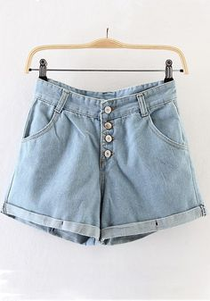 Light Blue Plain Button Fly Denim Short Jeans