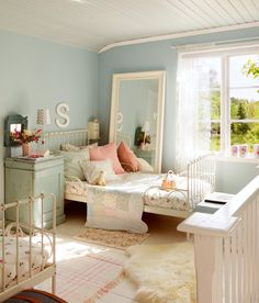 A little girl's bedroom with blue walls and pink and white accents., A little girl's bedroom with blue walls and pink and white accents. Good design doesn't date! Baronessa Home Furnishings and Accessories boasts a . Blue Bedroom Walls, Bedroom Decor, Blue Walls, Bedroom Ideas, Duck Egg Blue Bedroom, Girls Bedroom, Bedrooms, Childs Bedroom, Sweden House