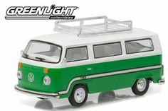 Greenlight Club V-Dub 3 1977 VW Type 2 Bus Sumatra Green Roof Rack Stripes From Sportsamerica Sports Cards. Volkswagen Westfalia Campers, Volkswagen Type 2, Roof Rack, Hot Wheels, Diecast, Van, Stripes, Club, Green