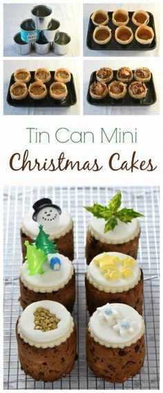 How to make mini christmas cakes in tin cans - I used mini baked bean tins to bake these cute little cakes - great homemade gift idea from Eats Amazing christmas cooking gifts Mini Christmas Cakes, Christmas Cake Decorations, Christmas Food Gifts, Xmas Food, Christmas Cooking, Christmas Desserts, Christmas Hamper Ideas Homemade, Holiday Cakes, Christmas Christmas