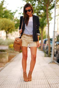 blazer, stripes, shorts, and a leopard belt