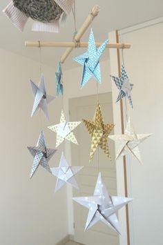 mobile 10 étoiles décoration murale en origami,  turquoise, or, gris - pour chambre bébé garçon enfant