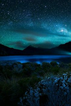 Blue starry night sky, beautiful clouds and mountains. I want to go to this magical place ♥ Beautiful Sky, Beautiful Landscapes, Beautiful World, Beautiful Places, Stunningly Beautiful, Pretty Sky, Absolutely Gorgeous, Ciel Nocturne, Alone In The Dark