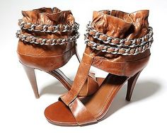 BCBGeneration Chain Embellished Open Toe Heels, Pump Booties, Shoes, Size 8.5
