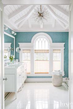 beautiful turquoise and white bathroom | Scott Sanders LLC
