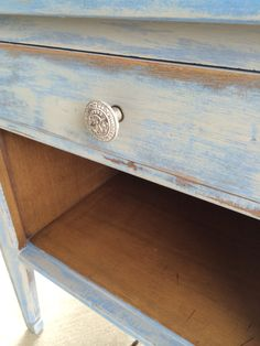 Distressed vintage end table. Eclectic Grey