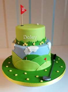 Golf theme cake.  we dont even like golf but it sure is a cute cake