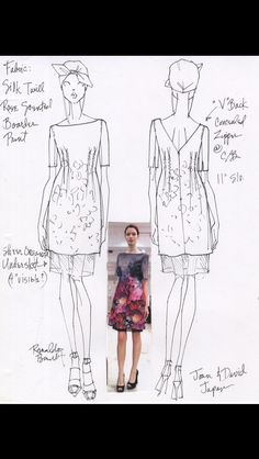 Design Sketch and Photo of First Sample for Joan & David Collection- Japan, Resort 2013 (Renaldo Barnette)