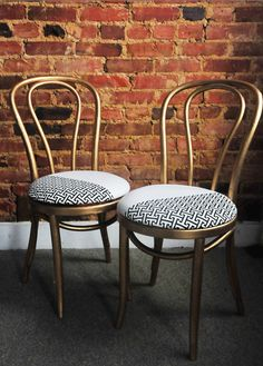 Upholstered Thonet Chairs in White/Gold —