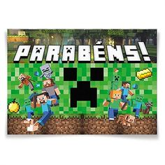 Painel Horizontal Festa Minecraft - 106x75cm