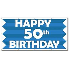 VictoryStore Yard Sign Outdoor Lawn Decorations: Happy Birthday Blue Stripes Vinyl Banner, Size 3 feet x 6 feet Happy 80th Birthday, Happy 40th, Black Tees, Toms, Vinyl Banners, Info, Younique, Illustration, Free