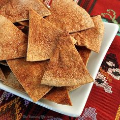 Easy Baked Sugar & Spice Tortilla Chips. Only 3 ingredients! A healthier alternative to cookies. www.theyummylife.com/sugar_and_spice_baked_tortilla_chips