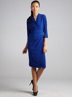 Suzi Chin: Tidal Stretch Jersey Dolman Sleeve Faux Wrap Dress
