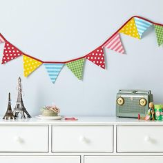 The Land of Nod | Kids' Room Décor: Patterned Pennant Fabric Garland in Hanging Décor-minus the pink for a boy
