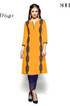 designer party wear reyon yellow kurti with embroidery work 640