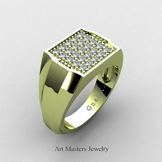 Mens Modern 14K Green Gold Micro Pave Diamond Designer Ring R326M-14KGGD