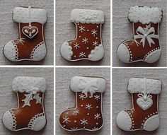 Botas … – Valentine's Day Christmas Biscuits, Christmas Sugar Cookies, Christmas Sweets, Christmas Gingerbread, Christmas Cooking, Noel Christmas, Christmas Goodies, Holiday Cookies, Christmas Stocking Cookies