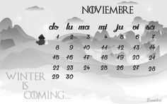 winter is coming ...  calendario mes de noviembre 2015   illustrator