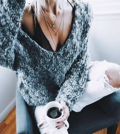 marled oversized sweater + white distressed denim