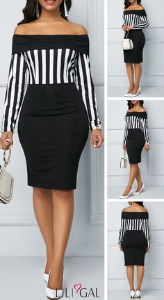 Long Sleeve Striped Off the Shoulder Black Sheath Dress Girly Outfits, Classy Outfits, Skirt Outfits, Stylish Outfits, Fashion Outfits, Look Short Jeans, Casual Wear, Casual Dresses, African Fashion Dresses