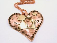 A Child and Dog Mixed Metal Pendant   SecondNatureDesigns - Jewelry on ArtFire