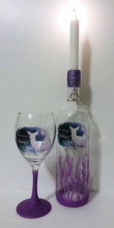 Harry Potter Wine glass & Wine bottle candle holder set...MADE TO ORDER, one of a kind ONLY £19.99