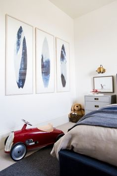 The Big (Boy) Reveal. Emily Jackson, lifestyle blogger of TheIvoryLane.com, partnered with RH Interior Design to create a modern room for her son featuring our Roadster Scoot and RH TEEN Abstract Surfboard Prints.