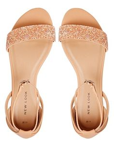 Image 3 of New Look Glass Nude Embellished Flat Sandals