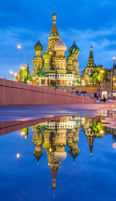 St. Basil's Cathedral with reflection on the Red Square in Moscow, Russia