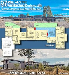 Architectural Designs Modern Plan 54231HU gives you over 3,500 sq ft of heated living space with 3 beds and 3.5 baths. Ready when you are! Where do YOU want to build? #54231HU #adhouseplans #architecturaldesigns #houseplan #architecture #newhome #newconstruction #newhouse #homedesign #dreamhome #homeplan #architecture #architect #housegoals #house #home #design #modern #moderndesign #modernhome #modernarchitecture
