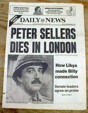 1980 headline display newspaper PETER SELLERS DEAD British Comedy Movie Actor